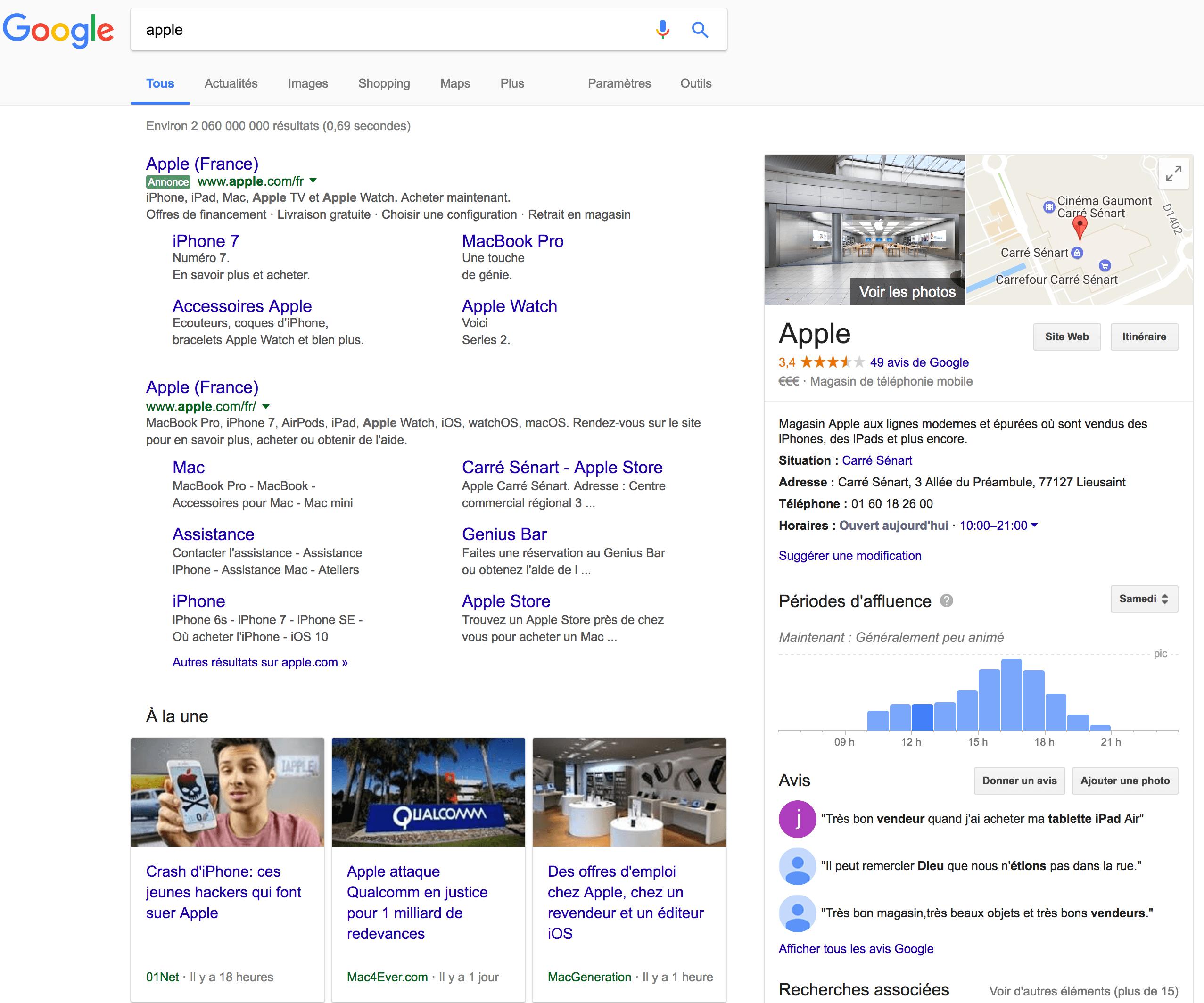 Apple résultat Google