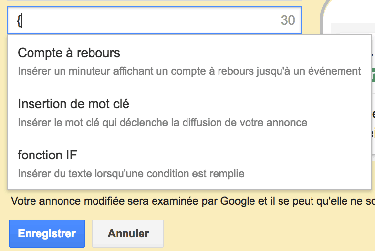 Utiliser la balise d'insertion Adwords